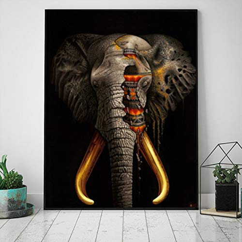 Danjiao Pintura En Lienzo Modernos Carteles E Impresiones De Animales Elefante Religioso Abstracto Cuadros De Pared Para Sala Cuadros Decoración Para El Hogar Sala De Estar Decor 60x90cm