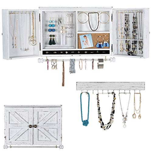 Rustic Wall Mounted Jewelry Organizer with Wooden Barndoor Decor. Jewelry holder for Necklaces,...