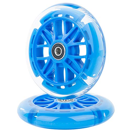 AOWESM 120mm Light Up Scooter Wheels 120 mm PU LED Flash Flashing 3-Wheel Kick Scooters Front Replacement Wheels for Kids Toddles Boys and Girls (2-Pack) (Blue)