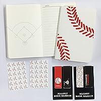 BNS野球ブックマーカー別柄2セット+野球ノート(A6サイズ)ミシン綴じタイプ2冊+シール2枚セットプライム