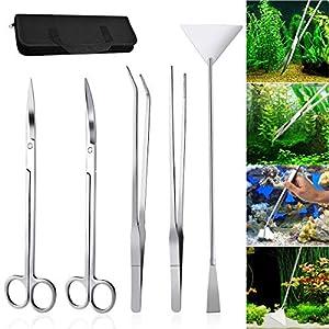 Kitahome Aquascaping Tools, 5 in 1 Stainless Steel Aquarium Tank Plant Algae Tweezers Scissors Spatula Tools Set (Specular)
