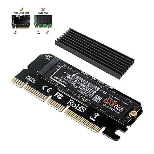 6amLifestyle M2 NVME PCIe Adaptador para SSD x16 PCI Express 3.0 con Aluminio Disipador de Calor Soporte PCIe x4 x8 x16 Ranura para M.2 PCIe Nvme M Key SSD 2230 2242 2260...
