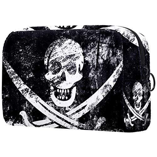 Gifts for Men Women Makeup Bag Toiletry Pouch Small Cosmetic Bag - Cool Pirate Skull Black White