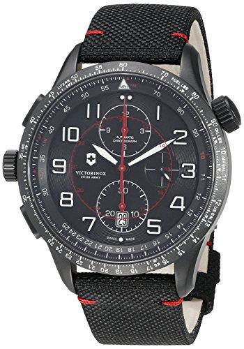 Victorinox Hombre Airboss Mach 9 Chronograph Black Edition - Reloj de Acero Inoxidable/Tela automático de fabricación Suiza 241716