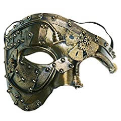 One size fits most, half face with elastic band The size for the cool mask is: 6.7*4.9*5.1 IN Made with high quality eco-friendly materials: ABS. Durable and tough Exceptional craftsmanship. Unique antique elements, with Vintage Steampunk inspired de...