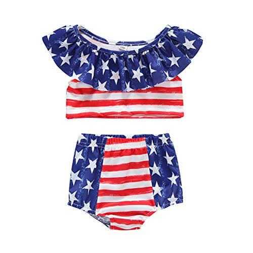 Miwear July 4th American Flag Swimsuit Toddler Baby Girls Off Shoulder Ctop Top + Bottom Shorts Bathing Suits (Multicoloured, 3-4 Years)
