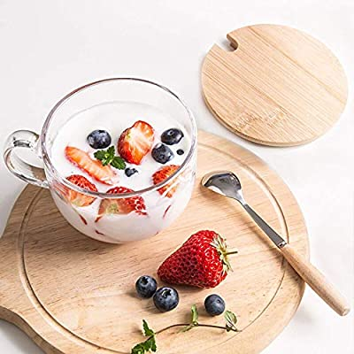 PARACITY Glass Cup 15OZ Clear Coffee Mug with Lids Spoon for Breakfast Tea,Milk,Beverage,Oats,yoghurt