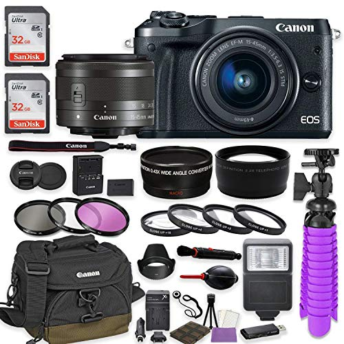Canon EOS M6 Mirrorless Digital Camera (Black) Premium Accessory Bundle with Canon EF-M 15-45mm is STM Lens (Graphite) + Shoulder Case + 64GB Memory + HD Filters + Auxiliary Lenses