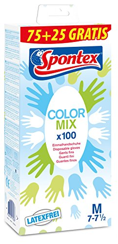 Spontex Color Mix Einmalhandschuhe (bunte, aus Vinyl im Farbmix, latexfrei und ungepudert) Größe M (1 x 100 Stück)
