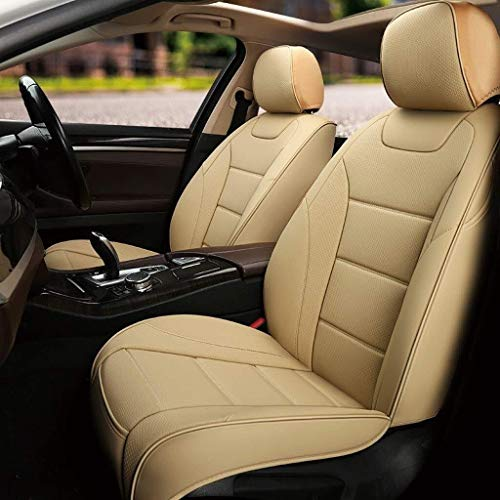Couverture de siège de voiture, airbag universel pour voiture 5 places avec housse quatre saisons pour cuir avant et arrière (Color : Rice)