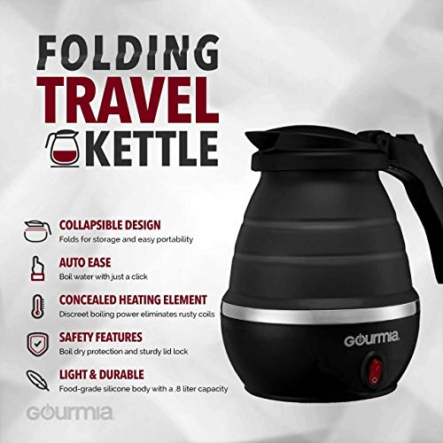 Gourmia GK360 Travel Foldable Electric Kettle - Fast Water Boiling - Food Grade Silicone - Small, Collapsible, Portable - Boil Dry Protection - .8 Qt - 110/120v - 820W -Black