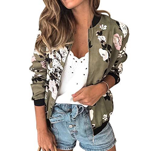 N\P Frauen Bedruckte Jacken mit Blumenmuster Plus Size KurzerFrauenmantel Langarm-Bomberjacke für Frauen