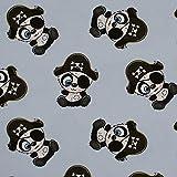 French Terry - Sommersweat Pirat Panda, unangeraut,