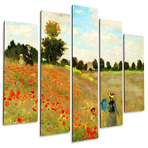 Giallobus Pintura de Paneles múltiples 5 Piezas - Claude Monet - Campo de Amapolas 2 - Imprimir en Madera MDF - Pronto da appendere - 140x100 cm