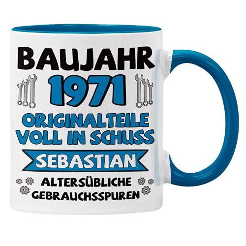 Tasse mit Wunschnamen und Geburtsjahr personalisierte Namenstasse Geburtstags-Tasse Geschenk-Tasse Geschenkidee Baujahr (Blau)