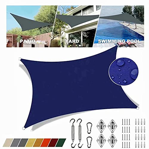 Toldo rectangular azul marino de 4 x 5 m, protección UV, impermeable, lona solar