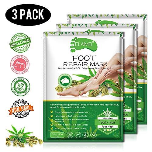 Hanf Fußsockenmaske 3er Pack, Fußmaske Spa Fußmaske Repair Raue Haut für trockene Füße, feuchtigkeitsspendender Fuß, um trockene, matte Haut für Frauen und Männer aufzufüllen