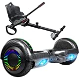 SISIGAD Hoverboard, Hoverboard with Seat, 6.5'' Self Balancing Scooter with Bluetooth and LED Lights, Hoverboard with Seat Attachment Combo for Kids and Teenagers Gift, Carbon Black