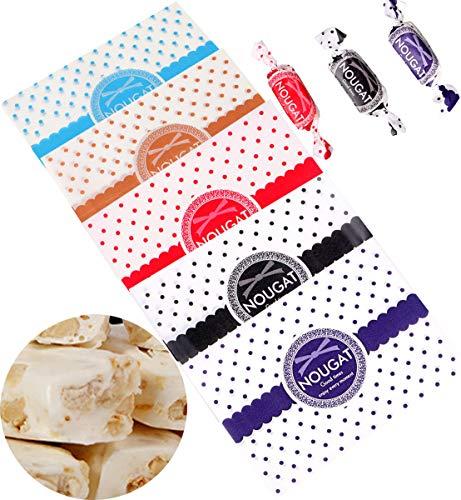Liuer 500PCS Papier Bonbons Papier Sulfurisé Nourriture papiers Emballage de Nougat Bonbons au Lait Pois Vague Cœur Multicolore pour Bonbons Buffet Cadeau Biscuit Deco Mariage Fete Anniversaire