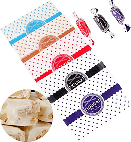 Liuer 500 Stks Snoep Cookie Wrapper Tassen Voedsel Inpakpapier Vetbestendig, Karamel Lollipop Nougat Twisting Wax Paper Anti-aanbaklaag voor Alle partijen Bruiloft Kerstmis (12,5 * 9cm)