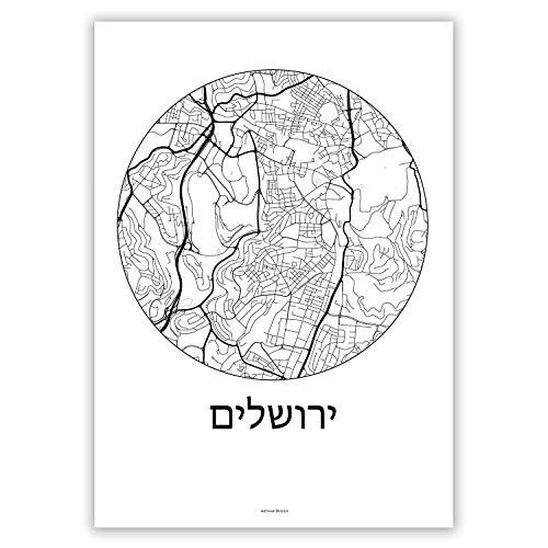 Plakat Jerusalem Israel Minimalist Map - Poster, City Map, Dekoration, Geschenk