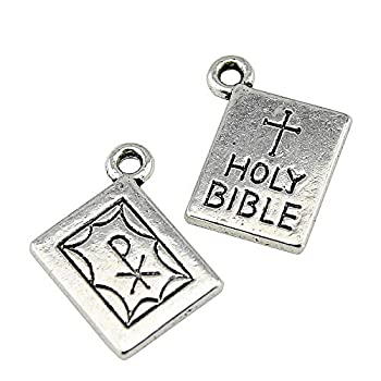 NEWME 30pcs Holi Bible Charms Pendant for DIY Jewelry Wholesale Crafting Bracelet and Necklace Making  Antique Silver