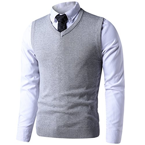 LTIFONE Mens Slim Fit V Neck Sweater Vest Basic Plain Short Sleeve Sweater Pullover Sleeveless Sweaters with Ribbing Edge(Grey,S)
