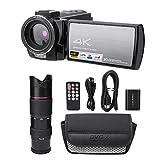 Videocámara, cámara Digital con Zoom 4K HD WiFi 16X, Pantalla táctil HD de 3.0 Pulgadas, videocámara con visión Nocturna con teleobjetivo y batería (# 2: teleobjetivo y batería)