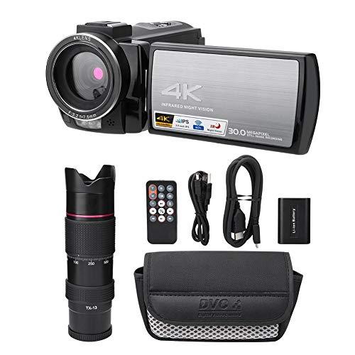 Vbestlife Videocámara, cámara Digital con Zoom 4K HD WiFi 16X, Pantalla táctil HD de 3.0 Pulgadas, videocámara con visión Nocturna con teleobjetivo y batería (# 2: teleobjetivo y batería)