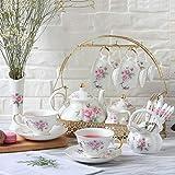 Taza de café con platillo 15 piezas Conjunto de té de cerámica, juego de café con el sostenedor del metal, pintura de la flor blanca rosa roja.con cucharillas de jarra tetera de azúcar tazón de crema