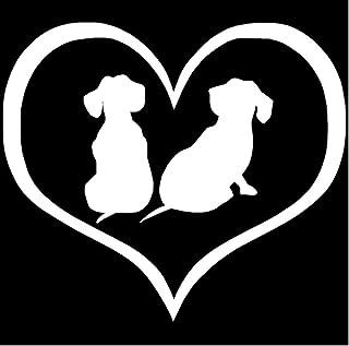 Wwwx 2pcs Dachshund Puppies Dog Heart Cute Cartoon Car Sticker Window Glass Decorative Stickers White 10.9 * 9.5CM