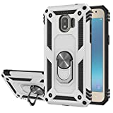 StarLodes Compatible for Samsung Galaxy J2 Pro 2018Case,(Not J2 Prime),Grand Prime Pro Phone Case,Heavy Duty Shockproof Defender Cover with Ring Kickstand Fit Magnetic Car Mount-Silvery