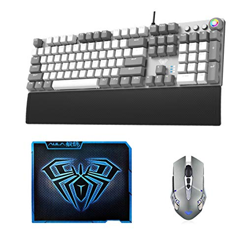 AULA F2088 Gray Mechanical Gaming Keyboard + SC200 Gray Wireless Bluetooth Gaming Mouse + Gaming Mousepad 3-Piece Set Combo