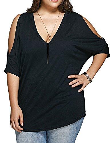 ALLEGRACE Women Plus Size Tops V Neck Short Sleeve Batwing Top Cold Shoulder T Shirt Black 2X