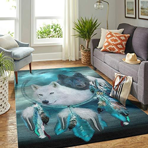 Veryday Alfombra moderna con diseño de atrapasueños y lobo, 50 x 80 cm, color blanco