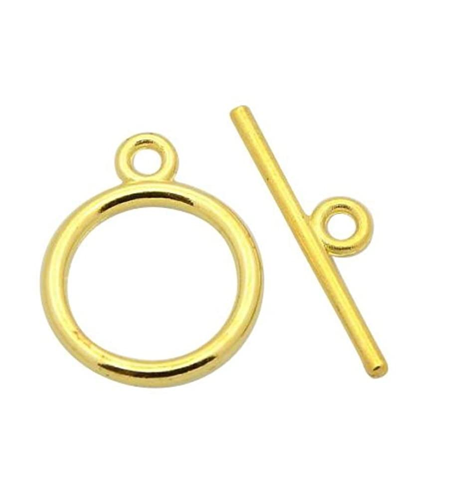 30 Sets Top Quality Elegant Round Toggle Clasps | 14mm 14k Gold Plated Brass Connector Beads for Jewelry Craft Making CF180