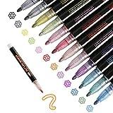 LIZHAIMING Bolígrafos de Contorno de Doble Línea,12 Colores Los Bolígrafos de Contorno Más Nuevos para Felicitación de Cumplea?os,Pintura, Reserva de Chatarra,Manualidades de Bricolaje