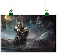 Agoza Wall Art Decor Poster Painting Fantasy Medival Dwarf Knight in Gothic Shield at Battle Place Winter Illustration Decorations Home Decor 47