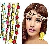 Frcolor 8ST Blume Stirnband Crow Strand Haar Band BOHO Stirnband mit verstellbaren elastischen Band