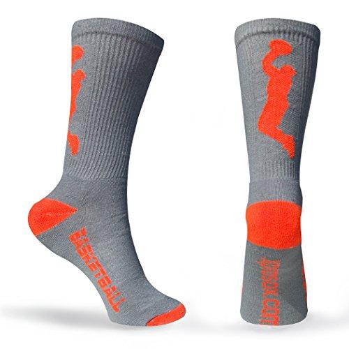 Athletic Half Cushioned Crew Socks   Basketball Player Design   Gray/Orange