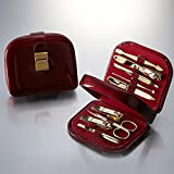 World No. 1, Three Seven 777 Travel Manicure Pedicure Grooming Kit Set, (Total 9 PC, Model: TS-8010G), Personal Nail care, Stainless steel - Made in Korea by Three Seven (777)