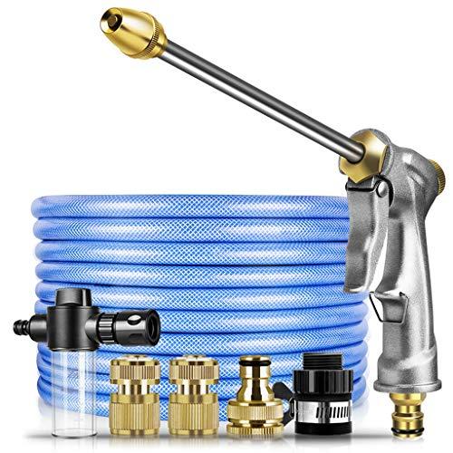 Tuinslangen, hoge-druk reguleerbaar spuitpistool Lange Pole Water Gun Nozzle set met Zeepdispenser fles voor Car Wash Watering Flowers,30m