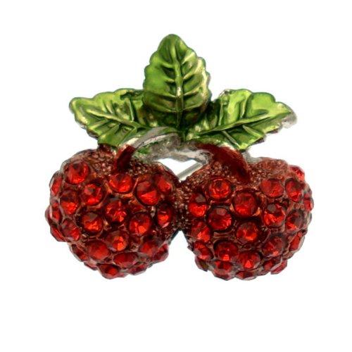 Acosta broches–estilo vintage de cristal rojo cereza doble broche (tono de plata)–con caja de regalo de día de San Valentín
