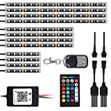 AMBOTHER 12Pcs Motorcycle LED Light Kit Strips RGB Waterproof with APP IR RF Wireless Remote Controllers Multi-Color Underglow Neon Ground Effect Atmosphere Lights