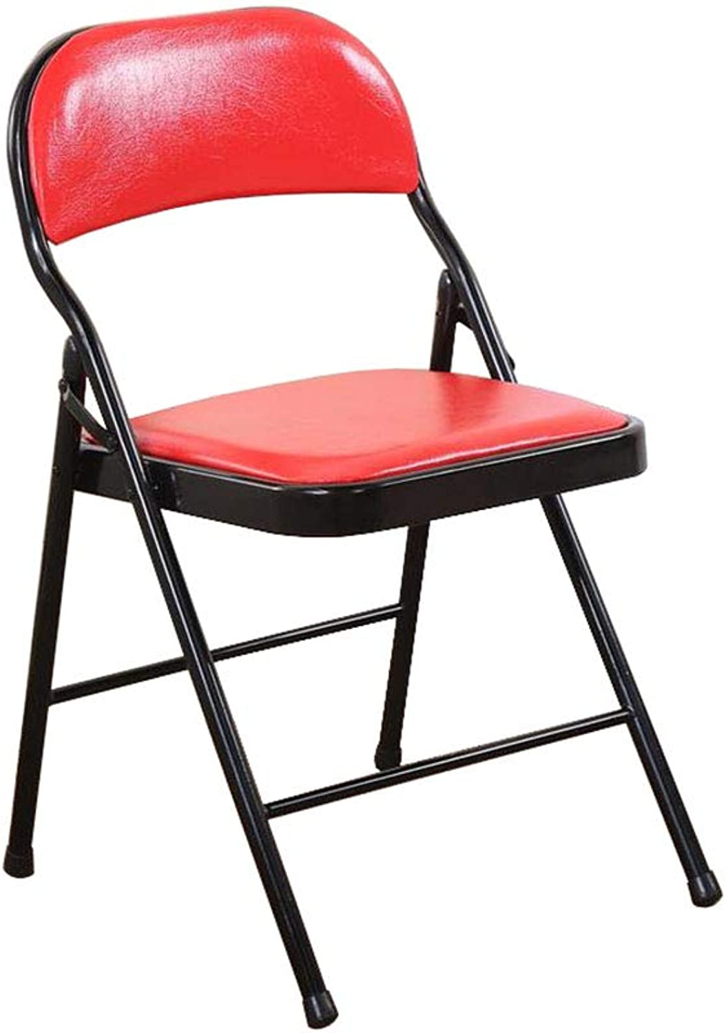 Folding Chair Red Padded Computer Backrest Chair Staff Training Stool Faux Leather