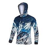 Camisa Xinyang Sports masculina de manga comprida com capuz Performance HD Print com capuz de pesca de secagem rápida, azul escuro, XX-grande