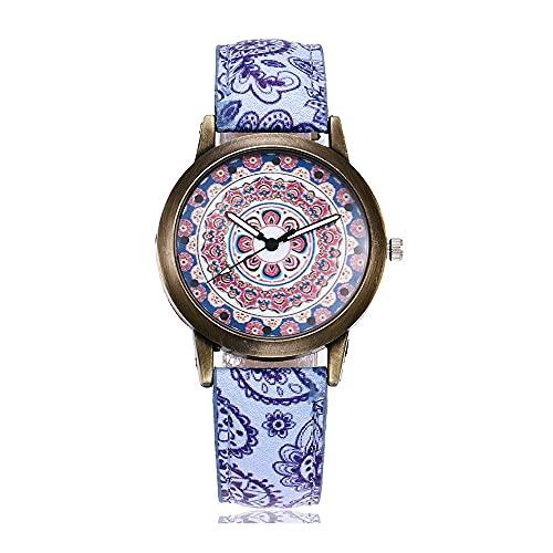 CXJC Dial Redondo de 38 mm 3ATM Reloj de Regalo Impermeable. Reloj Decorativo de Las Mujeres del Temperamento. Reloj de Cuarzo Impreso Estilo étnico Retro (Color : C)