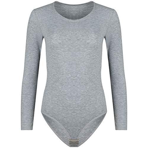Evoni Damenbody   Overall Bodysuit mit Rundhals für Frauen   Langarm-Body Optimale Alternative für Sport & Freizeit   Eleganter Jumpsuit (S, grau)