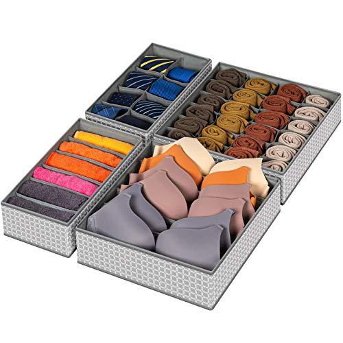 Drawer Organizer 4 Set Foldable Underwear Drawer Organizer and Closet Dividers Storage Box for Clothes Socks Underwear 4 Bins Grid