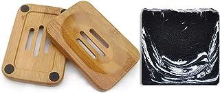 Mijo BALANCE Schwarze Seife Naturseife mit Aktivkohle Bio Olivenöl für Gesicht gegen Pickel Akne ca. 100g  Seifenschale